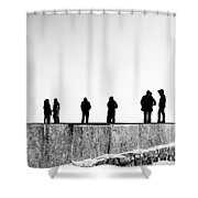 People Standing In Groups Abstract Monchrome Shower Curtain