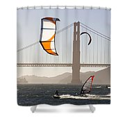 People Wind Surfing And Kitebording Shower Curtain