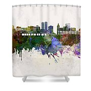 Peoria Skyline In Watercolor Background Shower Curtain