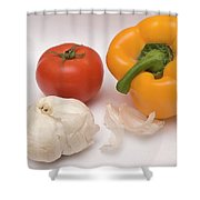 Pepper, Tomato And Garlic Shower Curtain