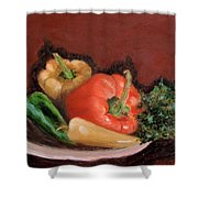 Peppers And Parsley Shower Curtain