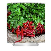 Peppers In A Basket Shower Curtain