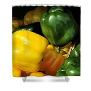 Peppers Yellow And Green Shower Curtain