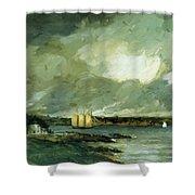 Pequot Light House Connecticut Coast 1902 Shower Curtain