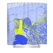 Perch Blue Yellow Shower Curtain