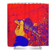 Perch Red Yellow Blue Shower Curtain