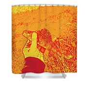 Perch Red Yellow Shower Curtain