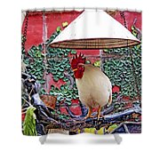 Perched Rooster Shower Curtain