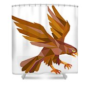 Peregrine Falcon Swooping Low Polygon Shower Curtain