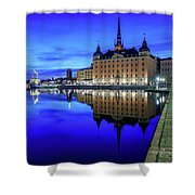Perfect Riddarholmen Blue Hour Reflection Shower Curtain