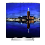 Perfect Stockholm City Hall Blue Hour Reflection Shower Curtain
