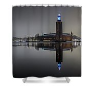 Perfect Stockholm City Hall Night Reflection Shower Curtain