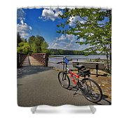 Perfect Weather For Cycling At Lake Brandt Shower Curtain