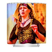 Performer Singing On Stage - In Watercolor Photo Shower Curtain
