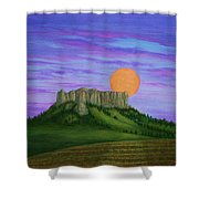 Perigee Moon Rising Above Crow Butte Shower Curtain
