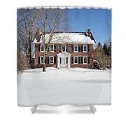 Period Vintage New England Brick House In Winter Shower Curtain