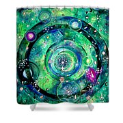 Universe Inside Of Electrons. Periodic Table Of The Elements Shower Curtain