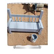 Periwinkle Bench Shower Curtain