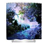 Fantasy Garden Path Periwinkle Shower Curtain