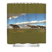 Permian Inostrancevia Hunts Keratocephalus Shower Curtain
