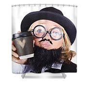 Person With Cup Of Coffee Shower Curtain