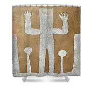 Personnage With Two Trees Shower Curtain