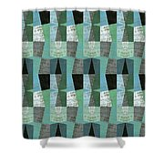 Perspective Compilation With Wood Grain And Teal Shower Curtain