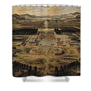 Perspective View Of The Chateau Gardens And Park Of Versailles Shower Curtain by Pierre Patel