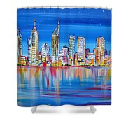 Perth Skyscrapers Skyline On The Swan River Shower Curtain