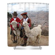 Peruvian Girls With Llamas Shower Curtain