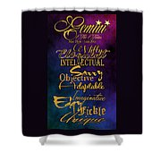 Pesonality Traits Of A Gemini Shower Curtain by Mamie Thornbrue