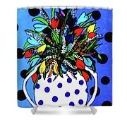 Petals And Dots Shower Curtain