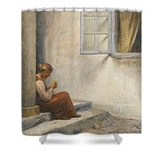 Peter Ilsted Danish, 1861-1933, On The Porch, Liselund Shower Curtain