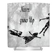 Peter Pan-black Shower Curtain
