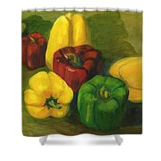 Peter Pifer Has A Lot Of Peppers To Choose From Shower Curtain
