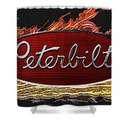 Peterbilt Emblem In Flames Shower Curtain