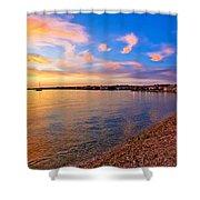 Petrcane Beach Golden Sunset View Shower Curtain