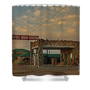 Petrified Gas Station After Rain Shower Curtain