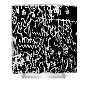 Petroglyphs Vertical Black And White Shower Curtain