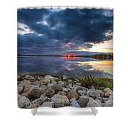 Pewaukee Lake Trail Shower Curtain