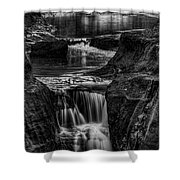 Pewits Nest Waterfalls In Black And White Shower Curtain