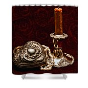 Pewter And Pearls Shower Curtain