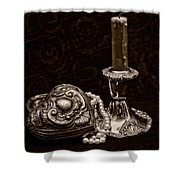 Pewter And Pearls - Sepia Shower Curtain