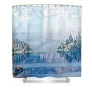 Phantom Ship Island In Mist At Crater Lake Shower Curtain