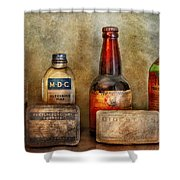 Pharmacist - On A Pharmacists Counter Shower Curtain by Mike Savad