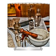 Pharmacist - Mortar And Pestle Shower Curtain by Paul Ward