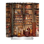 Pharmacy - Get Me That Bottle On The Second Shelf Shower Curtain by Mike Savad