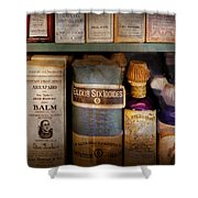 Pharmacy - Oils And Balms Shower Curtain by Mike Savad