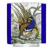 Pheasant Blue Shower Curtain