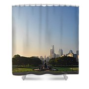 Philadelphia Across Eakins Oval Shower Curtain by Bill Cannon